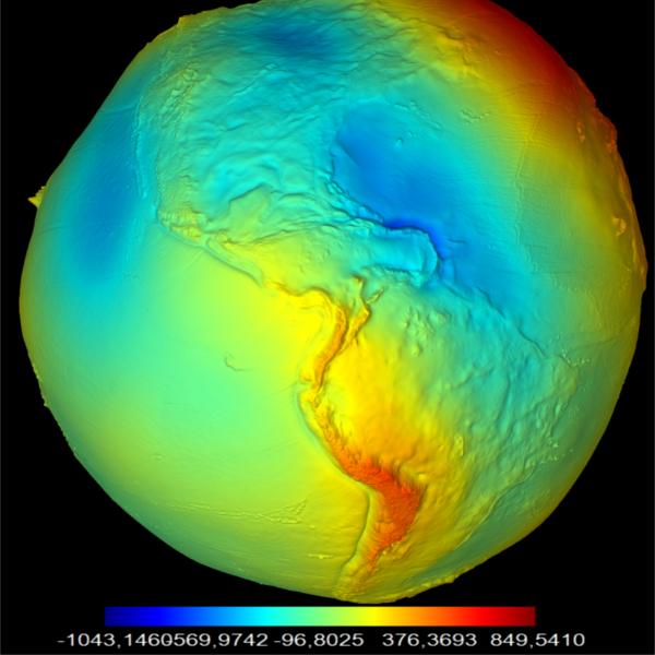 3D vizualizácia geoidu